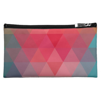 Red Blue Teal Geometric Tiangles Pattern Cosmetic Bags