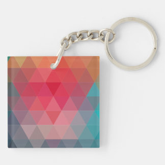 Red Blue Teal Geometric Tiangles Pattern Double-Sided Square Acrylic Keychain