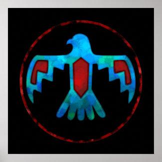 Red & Blue Thunderbird Poster