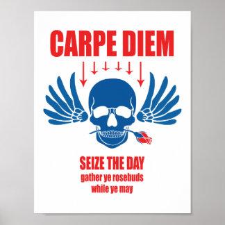 Red Blue Vintage Retro Carpe Diem. Seize the day Poster