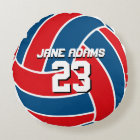 Red Blue Volleyball Sports Team USA Round Pillow