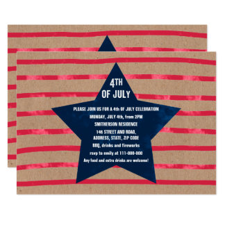 Red blue watercolor star stripes 4th July  kraft Card