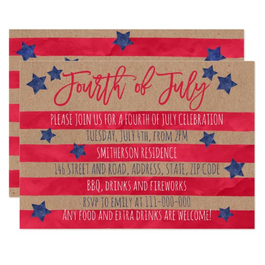 Red blue watercolor stripes kraft 4th of July Card