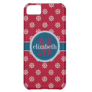 Red Blue White Nautical Ship Wheels Monogram iPhone 5C Covers