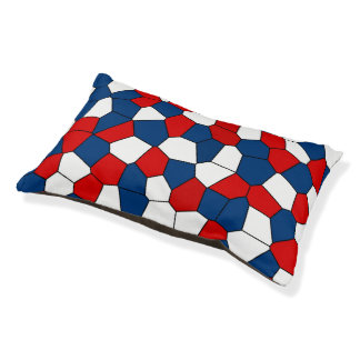 Red Blue White Pattern Small Dog Bed