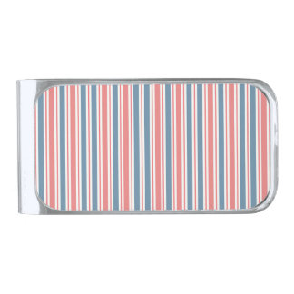 Red Blue White Stripes Pattern Silver Finish Money Clip
