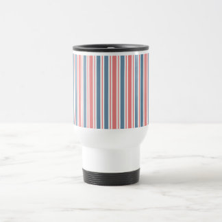 Red Blue White Stripes Pattern Travel Mug