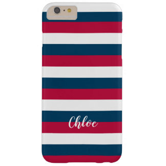 Red Blue White Stripes Pattern With Custom Name Barely There iPhone 6 Plus Case