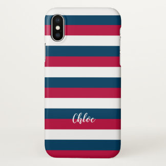 Red Blue White Stripes Pattern With Custom Name iPhone X Case