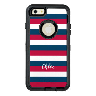 Red Blue White Stripes Pattern With Custom Name OtterBox Defender iPhone Case