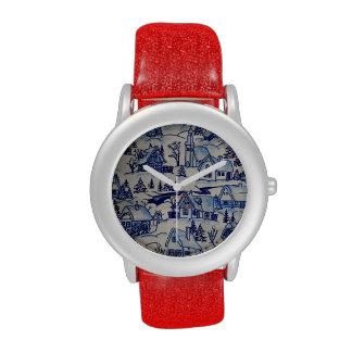 Red Blue/White Vintage Antique Winter Snow Village Wrist Watches