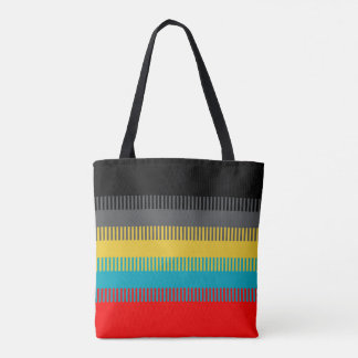 Red Blue Yellow Black Gray Abstract Unique Pattern Tote Bag