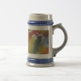 Red Blue Yellow Watercolor Beer Stein