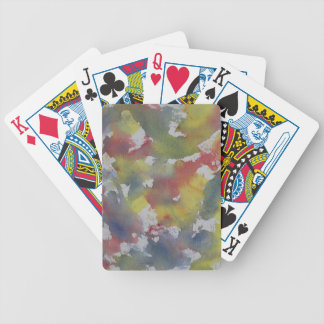 Red Blue Yellow Watercolor Bicycle Playing Cards