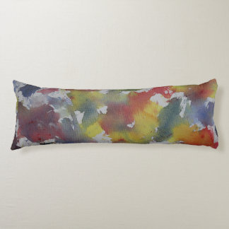 Red Blue Yellow Watercolor Body Pillow