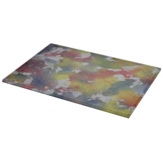 Red Blue Yellow Watercolor Cutting Board