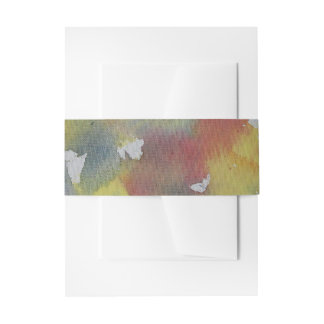 Red Blue Yellow Watercolor Invitation Belly Band