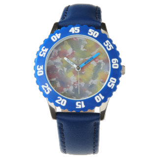Red Blue Yellow Watercolor Watch