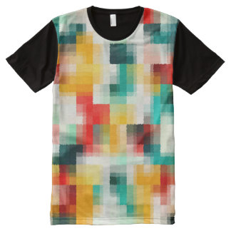 Red Blue Yellow White Abstract Pattern All-Over-Print T-Shirt