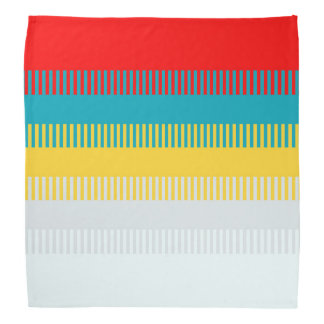 Red Blue Yellow White Gray Abstract Pattern Bandana