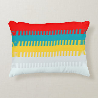 Red Blue Yellow White Gray Abstract Unique Pattern Decorative Pillow
