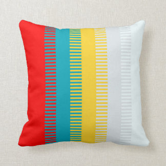 Red Blue Yellow White Gray Abstract Unique Pattern Throw Pillow