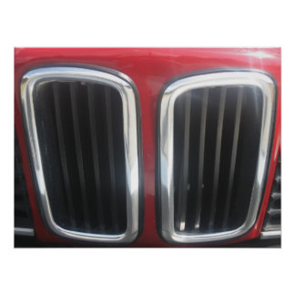 Red BMW 635 CSi Grill (Twin Kidneys) Poster