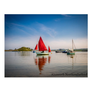 Red Boat At Alnmouth, Northumberland Postage Stamp Postcard