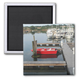 Red boat at Gloucester Refrigerator Magnets