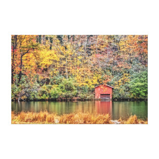 Red Boat House in Autumn Canvas Print