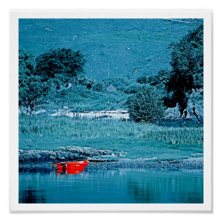 Red Boat in Blue Poster
