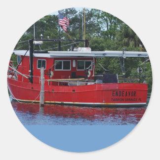 Red Boat Round Sticker