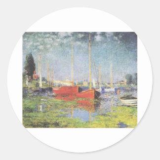Red Boats, Argenteuil, Claude Monet Round Sticker