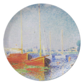 Red Boats at Argenteuil by Claude Monet Plates