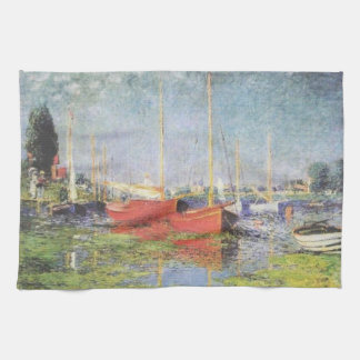 Red Boats at Argenteuil Kitchen Towel