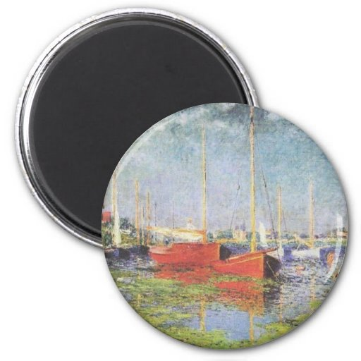 Red Boats at Argenteuil Fridge Magnets
