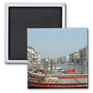 Red boats in Venice Square Magnet