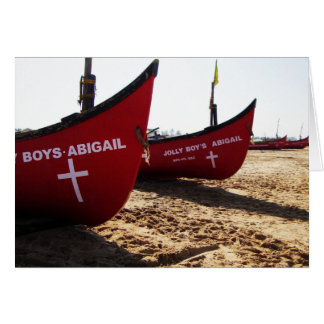 Red Boats on Candolim Beach Goa India Greeting Card