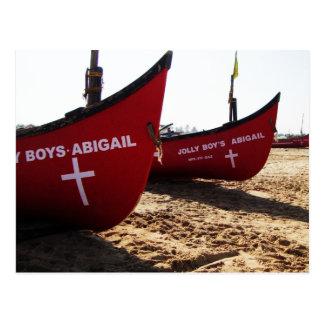 Red Boats on Candolim Beach Goa India Postcard