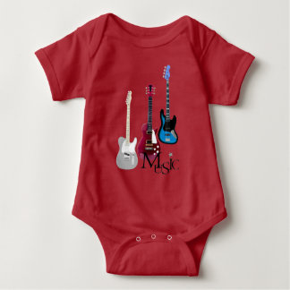 "Red bodystocking baby ""Guitars and Music "" Baby Bodysuit"