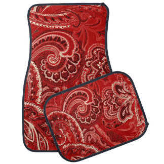 Red Boho Chic Retro Hippy Paisley Bandanna Car Mat