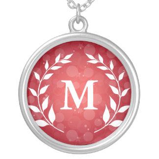 Red Bokeh and Laurel Monogram Pendants