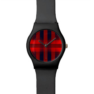 Red Bokeh Plaid Watch