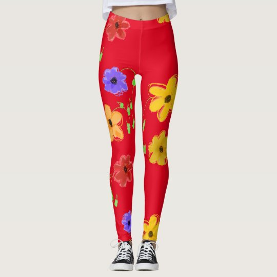 Red Bold Floral Leggings