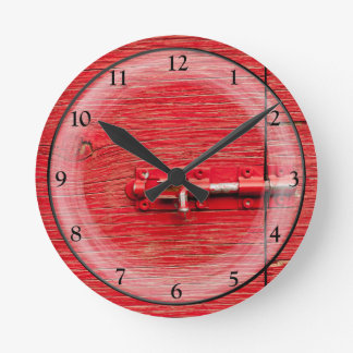 Red, Bolted, Wooden Door Round Clock