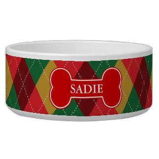 Red Bone On Festive Argyle Pattern & Pet's Name Pet Food Bowls