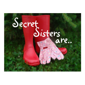 Red Boots Secret Sister Postcard - or any occasion