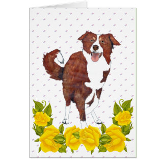 Red Border Collie and Yellow Roses Card
