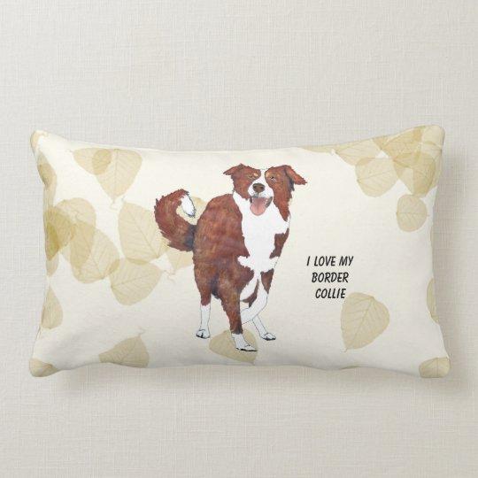 Red Border Collie, Tan Leaves Lumbar Pillow