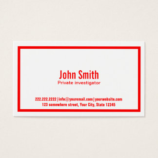 Red Border Investigator Business Card